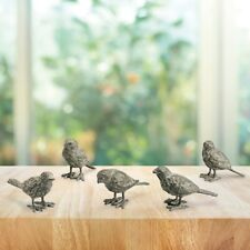 Bird Buddies Cast Iron Mini Figurines Garden Patio Sculpture Birds ~ Set Of 5