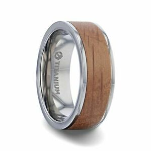 Jack Daniels Whiskey Barrel Inlay Men's Titanium Band with Flat Edges - 8mm