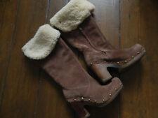 Womens Genuine UGG Lillian UK 3.5 Chestnut Suede Shearling Lined Heel Clog Boots