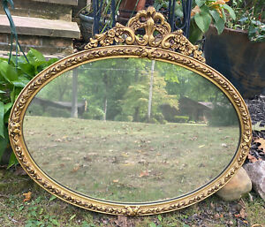 "Vintage Gilded Carved Wood Oval Mirror Italian Hollywood Regency Baroque 28""x24"""