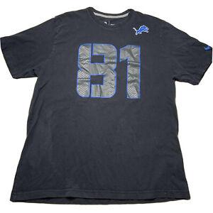 Nike Men's Size Large Detroit Lions Calvin Johnson T Shirt Jersey Black #81
