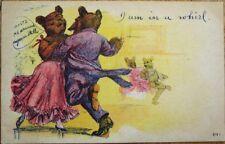 Anthropomorphic/Dressed Bear Couple Dancing the Waltz 1910 Postcard