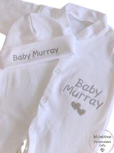 Personalised Embroidered Baby Sleepsuit Babygrow Hat Baby Gift Set Girl Boy