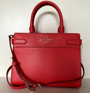 New Kate Spade New York Staci Medium Satchel Leather Digital Red