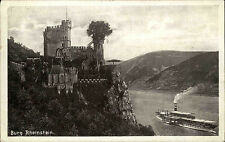 Burg Rheinstein bei Trechtingshausen Postkarte 1929 Blick ins Rheintal Schiff