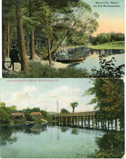 Posted Div/B POSTCARD LOT 1908 & 1912 MESSALONSKEE STREAM & BRIDGE WATERVILLE ME
