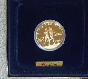 1984-D Proof US Olympic Gold Ten Dollar Commemorative Box and COA