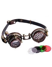 Lunettes goggles steampunk marron lentille viseur avec lumière LED RQ-BL