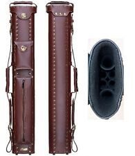 New InStroke Cowboy 2x4 Chestnut Leather Pool Cue Case - Holds 2+ Cues