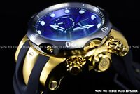 New Invicta Men's 52mm Venom Swiss Gold Chrono Deep Blue Dial 18K GP SS Watch