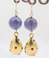 Orecchini gocce vintage cristallo ametista placcati oro Gioielli Artigianali
