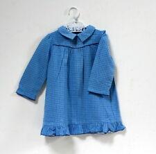 Robe bleue vintage pilou coton petits carreaux - 6/12 mois