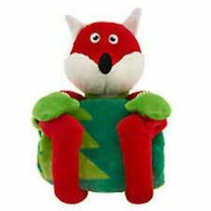 """MERRY & BRIGHT RED FOX 12"""" DOG TOY CHRISTMAS HOLIDAY 30X40"""" LONG BLANKET SET"""