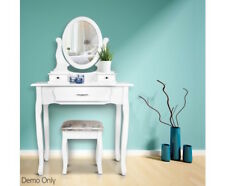 Antique Style White Dressing Table with Mirror Stool Furniture Bedroom Decor