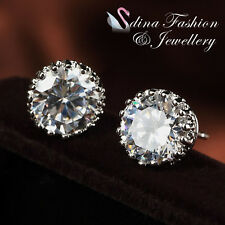 18k White Gold Plated Simulated Diamond Round Cut 2.0 Carat Crown Stud Earrings