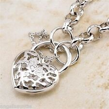 18K White Gold Filled Filigree Heart Padlock Belcher Bracelet (B-S109)