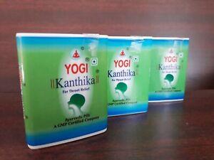 Yogi Kanthika Tablets 3 Dispensers Throat Relief Ayurvedic 420 Pills Sugar Free