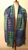 NWT Windhorse Women's  Wool & Silk Scarf Polka Dot/Striped Blue/Green 74X16