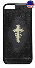 Cross on Bible Jesus Christ Christian Rubber Case Cover iPhone 8 7 Plus 6 5 4 X