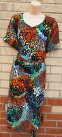 KOKO BY KOKO MULTI COLOUR ABSTRACT SHORT SLEEVE BELTED SIDE BODYCON DRESS 22 24