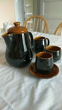 Mid Century Retro 1970s Prinknash Vintage Black/brown lustre  Coffee Set various