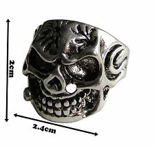Ring Skull Biker stainless Steel Mens Sizes U1/2  Detail Occult Band UK #21