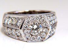 GIA Certified 2.29ct natural diamonds mens ring 18kt Hexagon Deck