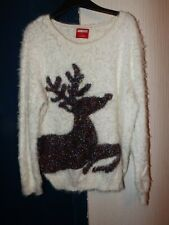 GEORGE SIZE 16 CREAM FLUFFY CHRISTMAS JUMPER WITH TINSEL  STYLE REINDEER