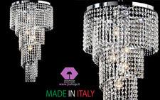 joshop lampadario frangia in cristallo puro classico moderno cromo soggiorno