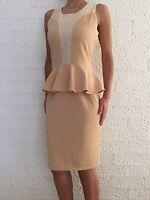 Women's Sleeveless Beige Peplum Midi Pencil Cocktail Eve Formal Dress size 8-18