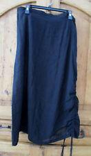 CITRON of Santa MONICA Black Lagenlook Ruched Maxi Skirt Elastic Wst XL