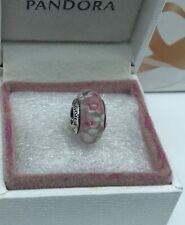 "Pandora, ""  Rose & White Flower Blossoms S925ale Murano Glass Charm *220*"