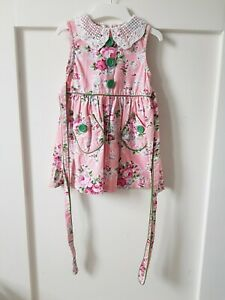ROCK YOUR BABY Sz 3 Pink Floral Fit N Flare Dress W Crochet Collar