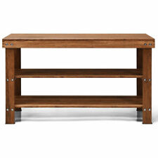 3-Tier Bamboo Shoe Bench Storage Rack Organizer W/ Stool Entryway Hallway