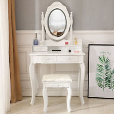 4 Drawers Led 1 Mirror Vanity Makeup Dressing Table Set W Stool Wood Desk White