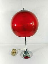 "22"" Red Ribbed Plastic & Chrome Dome Bubble Mushroom Retro Style Table Lamp"