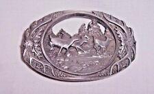 Men'S Heavy Pewter 1990 C + J Inc Deer Scene And Antler Belt Buckle Made In Usa