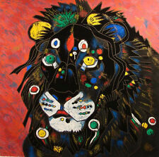 """Tie Feng Jiang """"King""""Lion Serigraph unstretched canvas HAND SIGNED Make an Offer"""
