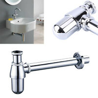 Adjustable Height & Outlet Bottle Trap Bathroom Basin Waste Sink Pipe Chrome UK