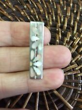 Genuine Sterling Silver 925 Pink Floral Mother Of Pearl Rectangle Pendant