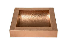"""17x17x6"""" Square Single Bowl Apron Curved Bottom Hammered Copper Bathroom Sink"""