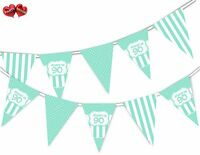 Happy 90th Mint Happy Birthday Anniversary Themed Bunting Banner by PARTY DECOR
