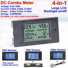 LCD DC Combo Meter 12V 24V 36V 48V Voltage Current KWh Watt Car Battery Monitor