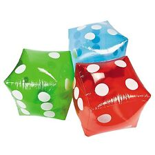 (3) 16 Inch Inflatable Transparent Dice Poker Bunco Vegas Party Decoration