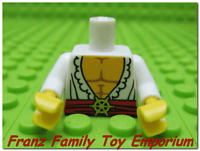 New LEGO MINIFIG TORSO White Pirate Shirt Red Sash Gold Buckle Castle Body Part