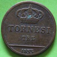 ITALIE NAPLES ET SICILE 3 TORNESI 1833