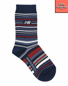 NEW BALANCE Ankle Socks Size 29-35 Striped Logo Elasticated & Ribbed Cuffs