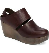 COCLICO SHOES HARLEN CLOG BURDEOS LEATHER WEDGE PLATFORM SLINGBACK 38 $445