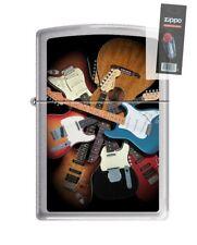 Zippo 4641 Fender Guitar Brushed Chrome Finish Full Size Lighter + FLINT PACK