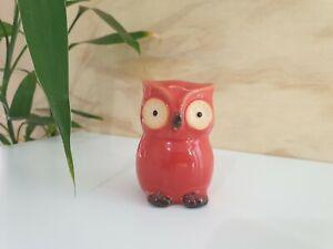 Ceramic Owl Ornament Statue Figurine Gift Small Glazed Bird Urban Cute Red